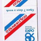 Matchbook Cover Vancouver Expo 86 Boston Pizza