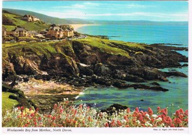 North Devon England Postcard Woolacombe Bay From Morthoe