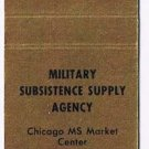 Matchbook Cover Military Subsistence Supply Agency Chicago