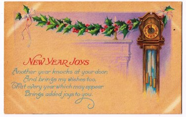New Year Postcard New Year Joys Grandfather Clock Holly Garland