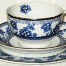 VINTAGE Stanley Pottery Torbrex Cup Saucer Plate England Cobalt Blue