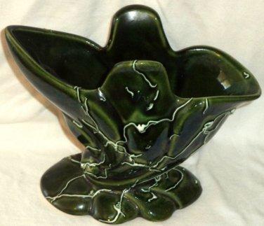 Green Beauceware Vase 488 Canada Cornucopia Slip Trailing Deco Quebec Vintage