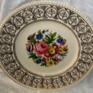 "Ambassador Ware Plate Floral Bouquet Gold Filigree Trim 10 1/2"" Made in England"