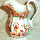 """Antique Pitcher Oriental Scene Person Dancing Hoop Person Clapping 5"""""""