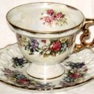 VINTAGE Iridescent Floral Footed Cup Reticulated Saucer  Made In Japan