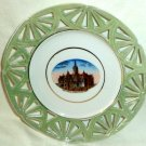 """Souvenir Plate City Hall Stratford Ontario Reticulated Made in Germany 6 3/4"""""""