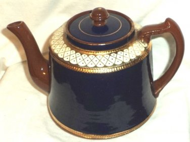 G & S Pottery Gibsons Teapot Large 6 Cup Cobalt Blue Brown White Gold Circa 1910