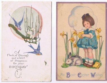 Birthday Easter Postcards (2) Bluebirds Girl Daffodils Rabbit Chick