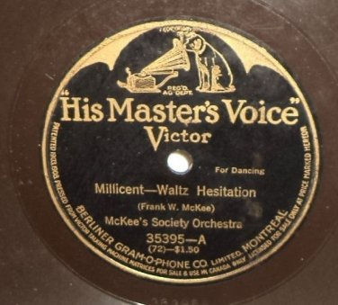 """McKee's Society Orchestra Millicent Waltz 78 rpm 12"""" LP Mighty Lak A Rose"""