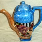 Sky Blue & Peach Lustre Teapot 3 Cup Flowers