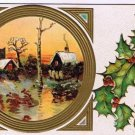 Christmas Postcard Embossed Country Scene Early Evening Holly Mistletoe VINTAGE