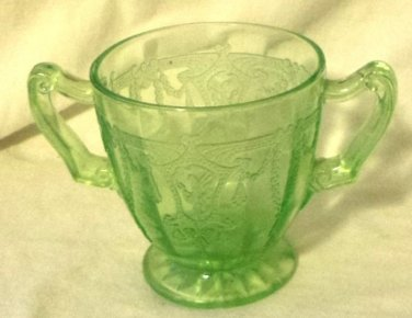 Hocking Green Depression Glass Sugar Bowl Cameo Ballerina