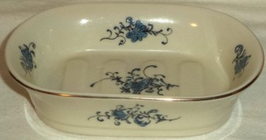 Takahashi White Blue French Flower Ceramic Vanity Soap Dish Hand Decorated