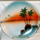Handpainted Reticulated Sunset Palm Lake Plate Japan