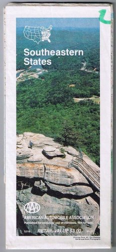 Southeastern States Road Map 1991 Cover Chimney Rock North Carolina