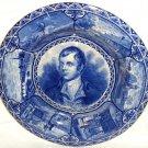 Rowland Marsellus Staffordshire Robert Burns Historical Portrait Plate Blue