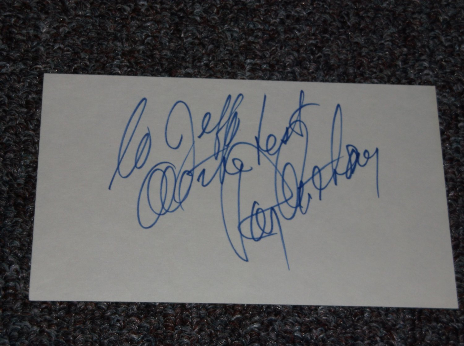 Ray Anthony signed inscribed 3x5 card, Bandleader