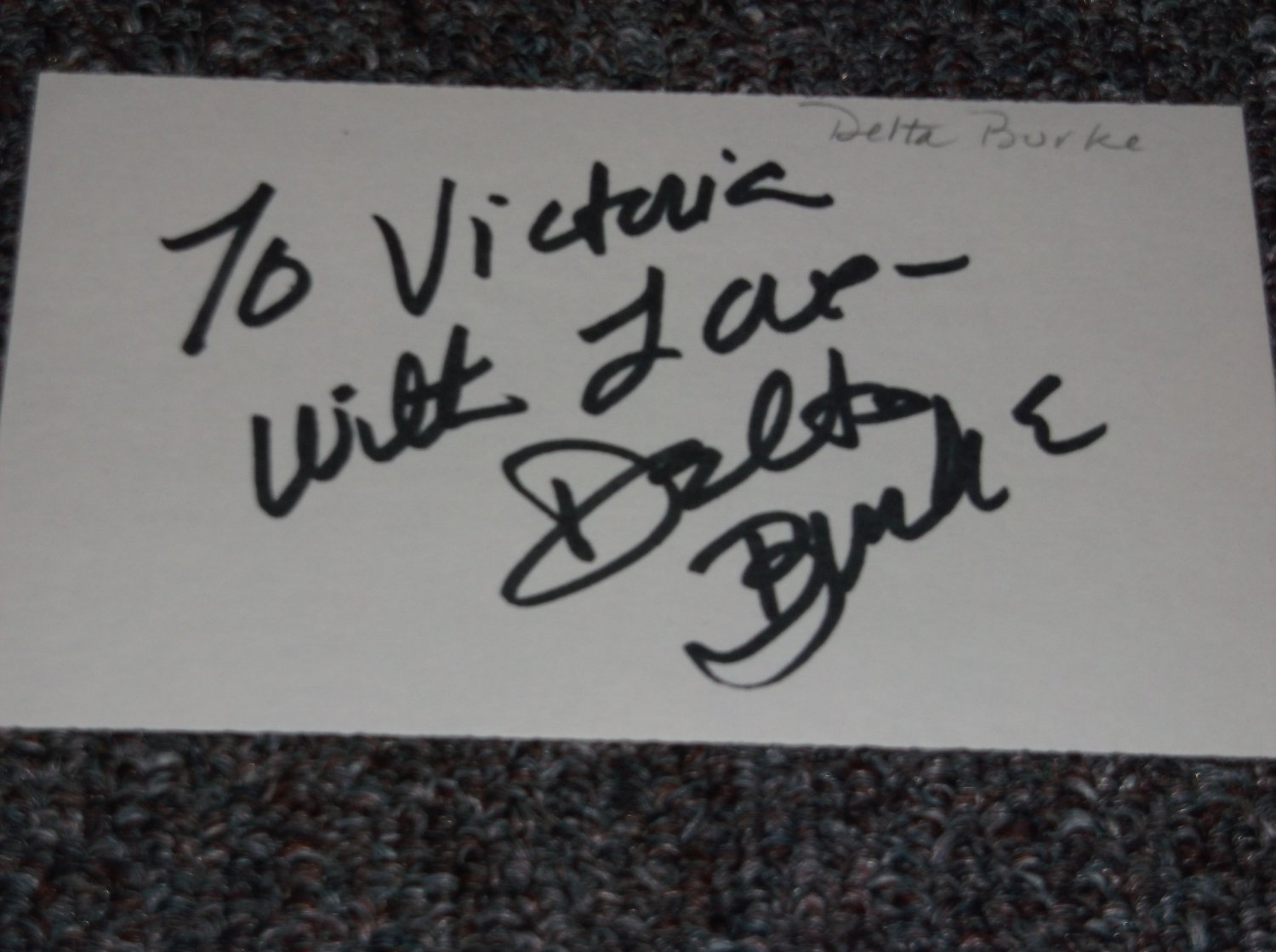 Delta Burke signed inscribed 3x5 card TV Actress