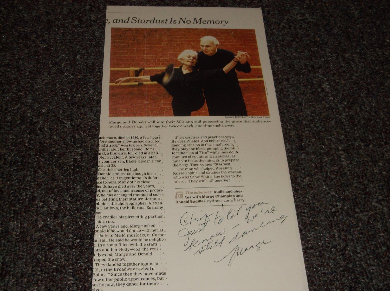 Marge Champion signed inscribed article, dancer
