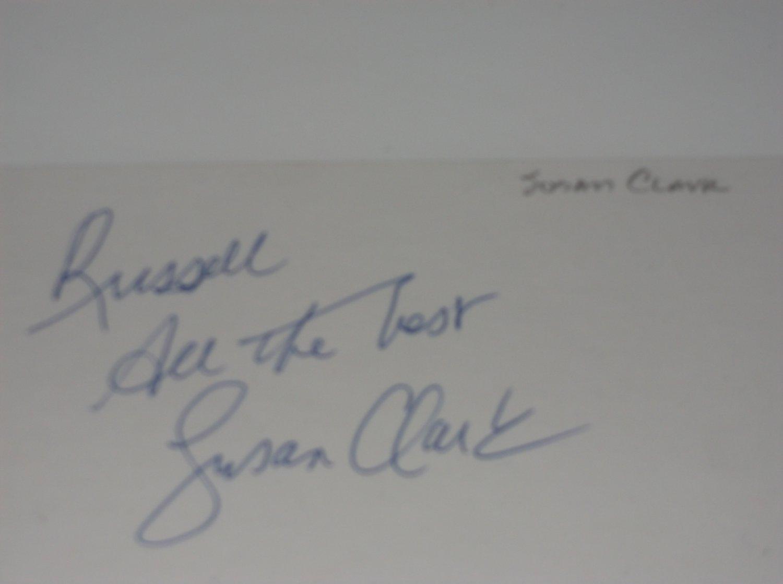Susan Clark signed inscribed 3x5 card, Webster