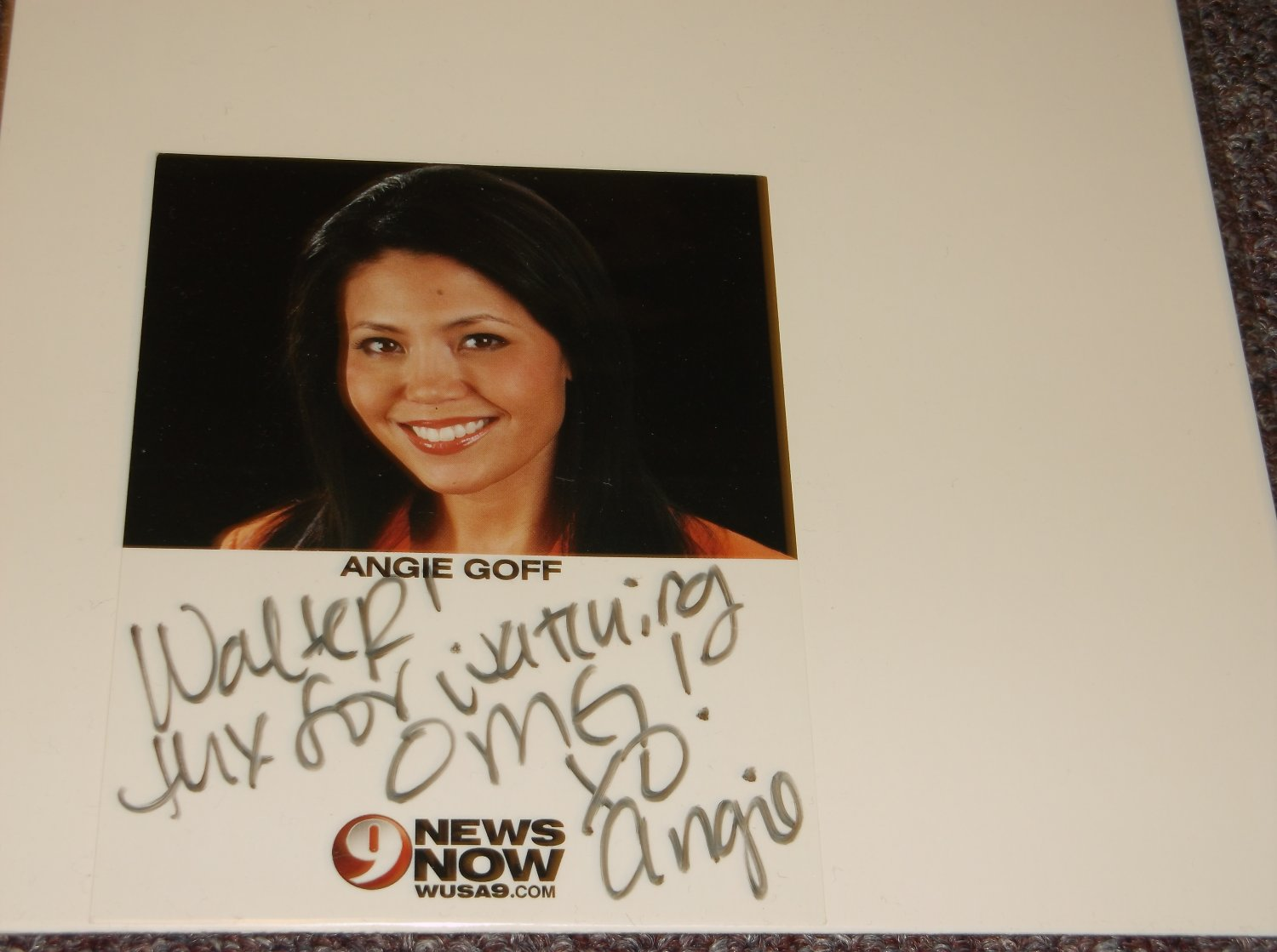 Angie Goff TV Personality signed inscribed 4x6 photo