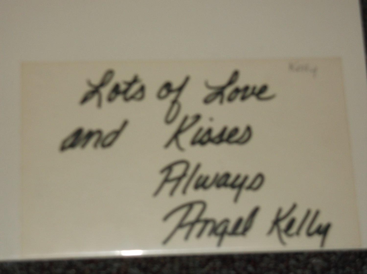 Angel Kelly signed 3x5 card, AVN Hall of Fame