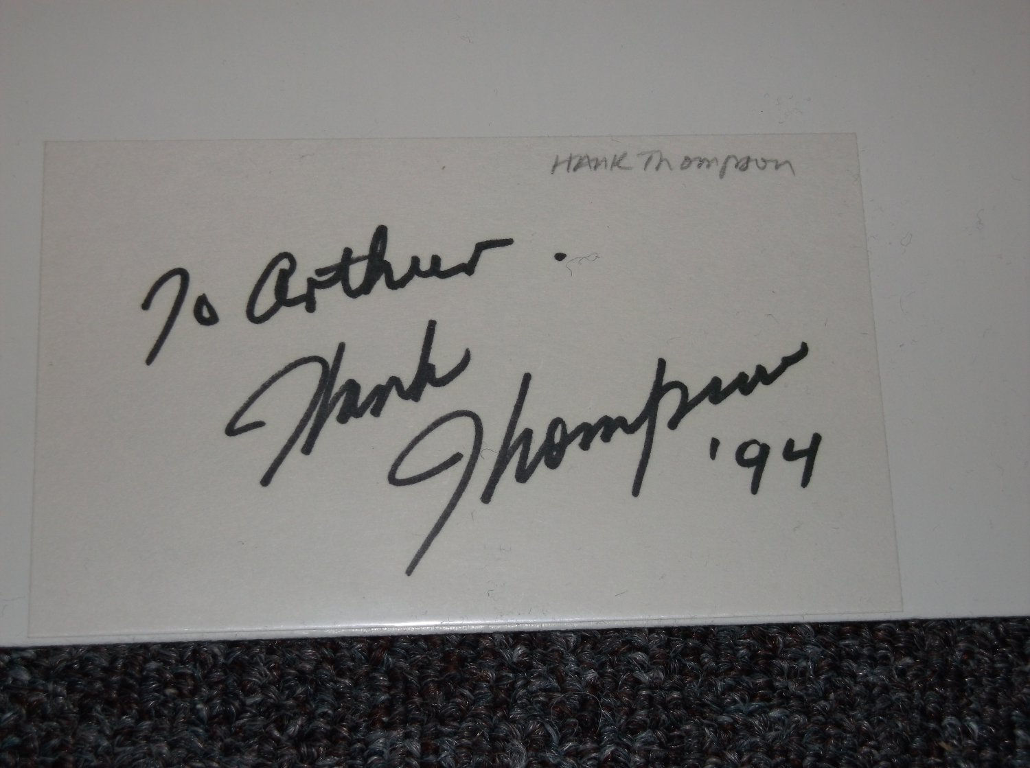 Hank Thompson (1925-2007) signed inscribed 3x5 card