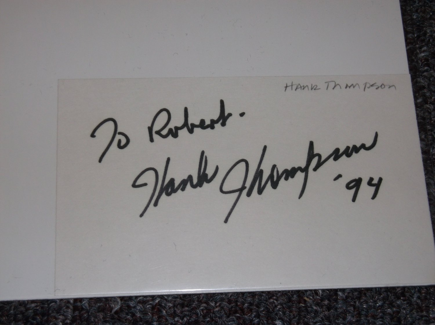 Hank Thompson 1925-2007 signed inscribed 3x5 card.