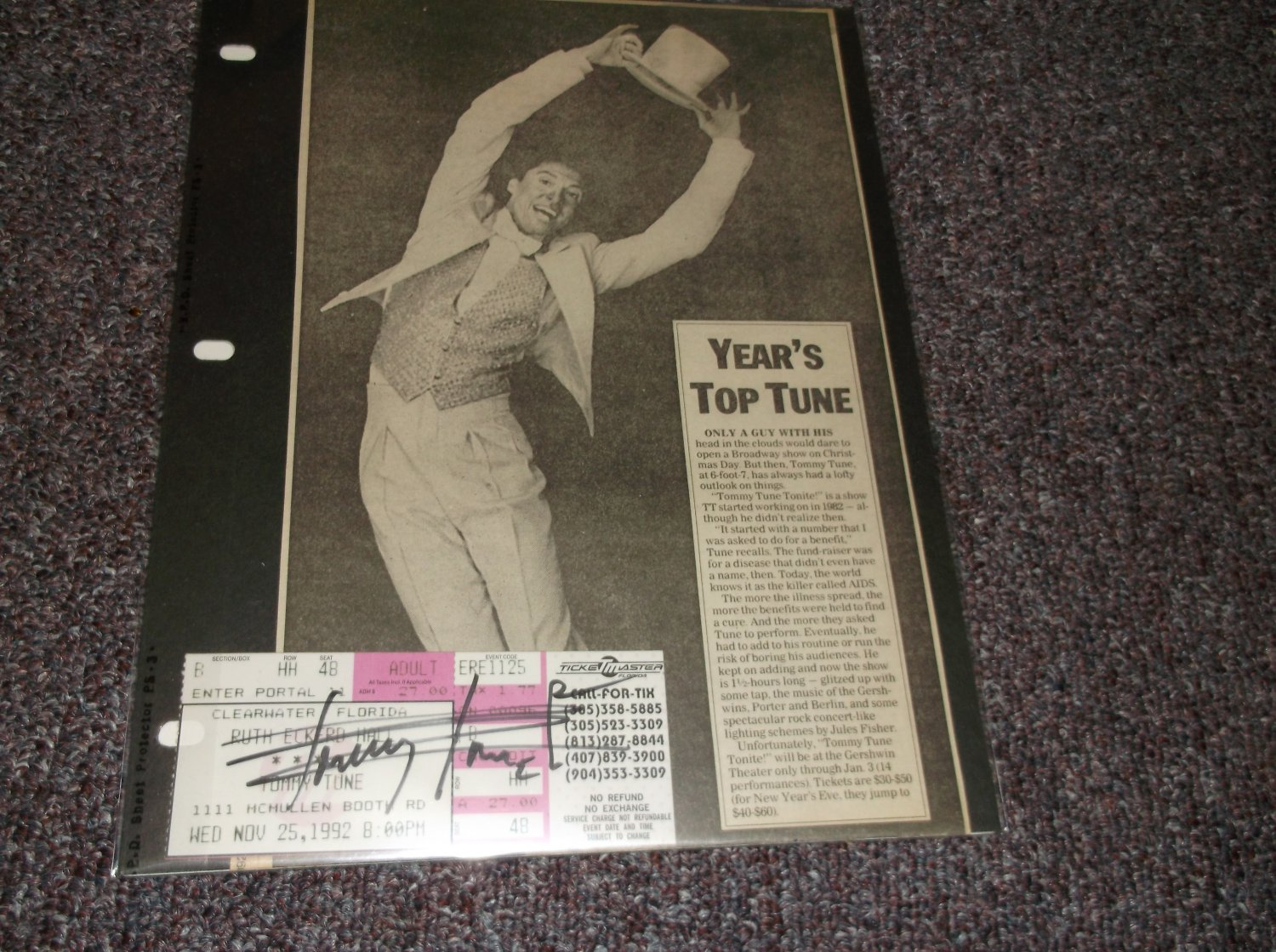 Tommy Tune signed vintage 1992 ticket