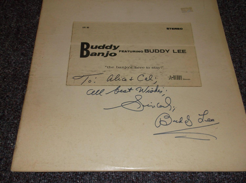 Buddy Lee signed inscribed LP cover Buddy Banjo