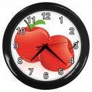 Glossy Red Apples Black Frame Kitchen Wall Clock