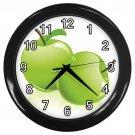 Glossy Green Apples Black Frame Kitchen Wall Clock
