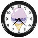 Purple Ice Cream Black Frame Kitchen Wall Clock