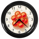 Sushi Roll Black Frame Kitchen Wall Clock