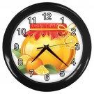 Orange Jelly Jar Black Frame Kitchen Wall Clock