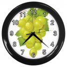 Green Water Drop Grapes Black Frame Kitchen Wall Clock