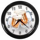 Beer Mugs Black Frame Kitchen Wall Clock