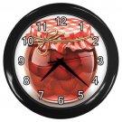 Strawberry Preserves Jar Black Frame Kitchen Wall Clock