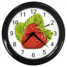 Life Like Red Strawberry Black Frame Kitchen Wall Clock