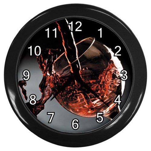 Wine Poured In Glass Black Frame Kitchen Wall Clock
