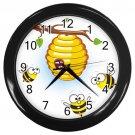 Cartoon Bees And Hive Black Frame Kitchen Wall Clock