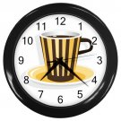 Yellow Brown Stripe Coffee Cup Black Frame Kitchen Wall Clock