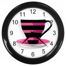 Pink Black Stripes Coffee Cup Black Frame Kitchen Wall Clock