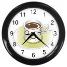 Green Circles Coffee Cup Black Frame Kitchen Wall Clock