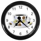 Dots Cup Of Coffee Black Frame Kitchen Wall Clock