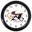 Abstract Cup Of Coffee Black Frame Kitchen Wall Clock