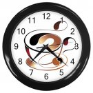 Abstract Coffee Cup Black Frame Kitchen Wall Clock