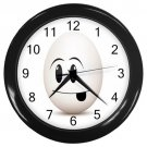 Silly Egg Face Black Frame Kitchen Wall Clock