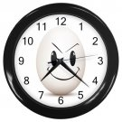 Mischevious Egg Face Black Frame Kitchen Wall Clock