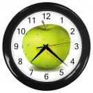 Wet Green Apple Black Frame Kitchen Wall Clock